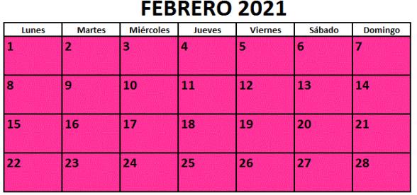 Calendario fiestas Galicia febrero 2021