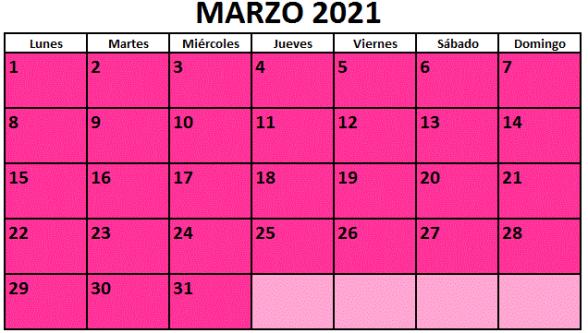 Calendario fiestas Galicia marzo 2021