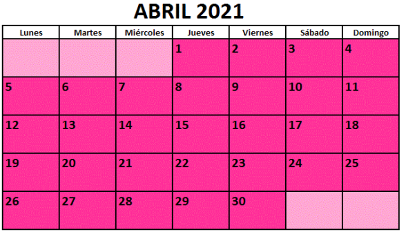 Calendario fiestas Galicia abril 2021